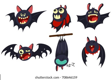 Vampire bat vector cartoon character set isolated on white background. Cute personage with different emotions for Halloween.