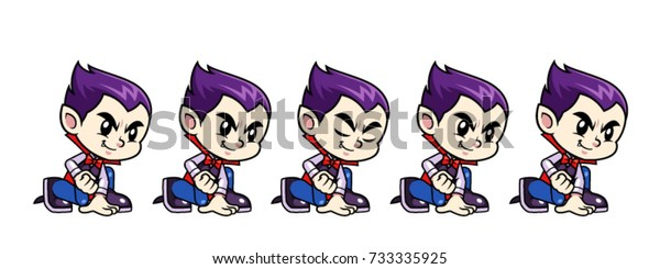 Vampire Boy Game Sprites Crouch for Stock Vector (Royalty