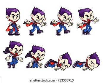 Vampire Boy Game Sprites Faint. For side scrolling action adventure endless runner 2D mobile game.