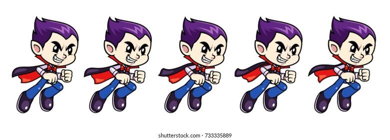 Vampire Boy Game Sprites Flying. For side scrolling action adventure endless runner 2D mobile game.
