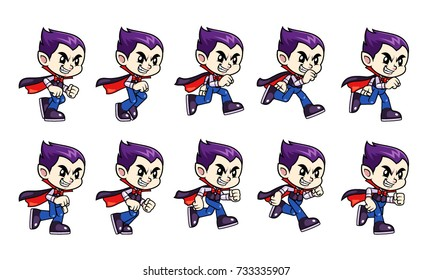Vampire Boy Game Sprites Run. For side scrolling action adventure endless runner 2D mobile game.