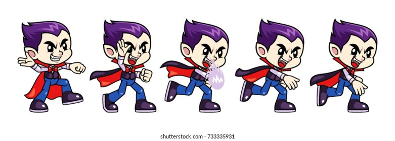 Vampire Boy Game Sprites Throw. For side scrolling action adventure endless runner 2D mobile game.