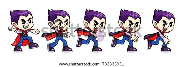 Vampire Boy Game Sprites Throw for Stock Vector (Royalty