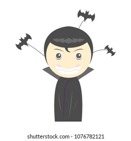 vampire boy in Halloween costume, Halloween element, bat cartoon object on white background, vector illustration