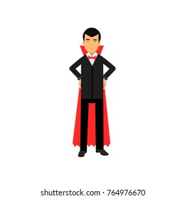 Vampire character posing with hands on a hip, Count Dracula wearing black suit and red cape vector Illustration