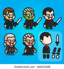 The vampire characters are ready for animation. Character for mobile applications and game design.Sprite for game.