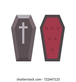 Vampire coffin flat icon. Halloween illustration of coffin lid and insides