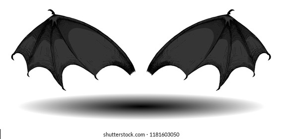 Vampire or demon bat wings with a shadow. Soaring wings with divergent rays isolated on white background. Halloween design in a vintage engraved style for greeting card, invitation, poster, banner etc