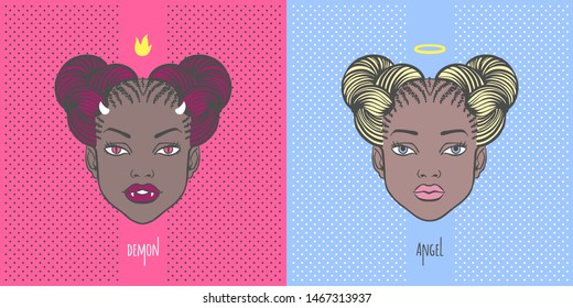 Vampire demon girl head with horns and fangs, black young woman portrait with angel halo, space buns afro hairstyle. Halloween fantasy character face illustration, fashion beauty good and evil concept