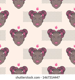 Vampire demon girl head with horns seamless vector pattern. Black young woman space buns afro braids hairstyle. Trendy dots, dotty texture. Cute cartoon Halloween character background, fashion concept