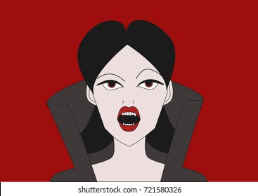 vampire girl with fangs on red background.