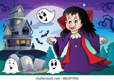Vampire girl theme image 4 - eps10 vector illustration.