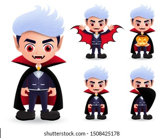 Vampire halloween characters vector set. Male vampire dracula character wearing halloween costume with fangs and red eyes wearing cape and holding pumpkin lantern while standing. Vector illustration.