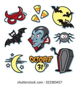 Vampire halloween illustration icon set with coffin