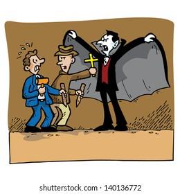 Vampire Hunters trying to kill Dracula.