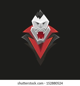 Vampire isolated on a black backgrounds, vector illustration