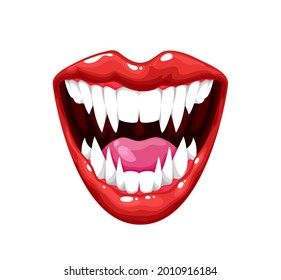 Vampire jaws, mouth and teeth, scary clown monster or smile fangs, vector flat cartoon icon. Scary Halloween face of monster, horror smile mask of vampire Dracula teeth and jaws, devil or joker grim