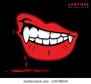 Vampire lips with fangs - vector illustration