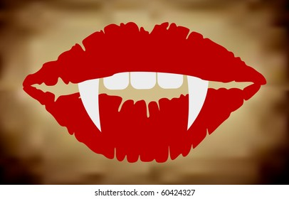 Vampire Lips On Grungy Background (Vector)