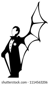 Vampire man standing symbol silhouette stencil black, vector illustration, vertical, isolated