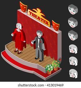 Vampire man and woman on theater stage. Heads with different facial expressions. Isometric icon set.  Vector illustration.