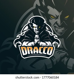 vampire mascot logo design vector with modern illustration concept style for badge, emblem and tshirt printing. vampire illustration for sport team.