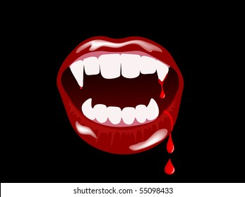 Vampire mouth with drops of blood