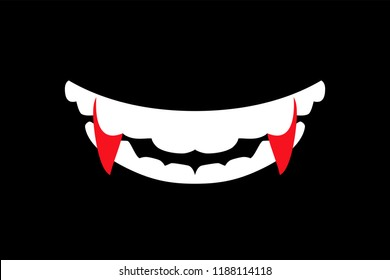 Vampire mouth with fangs. False vampire fangs. Vector flat art illustration of Halloween.