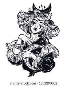 Vampire princess of the night. Beautiful sad Dracula girl with crescent in her hands. Spooky goddess or queen. Female tattoo art, t-shirt design. Isolated vector. Celebrating witchcraft culture.