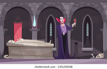 Vampire in purple cloak drinking blood from wineglass in burial vault with tomb skeletons flat vector illustration