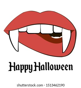 Vampire sticker for halloween.  Woman mouth with fangs.