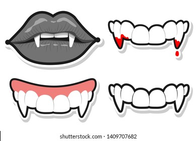 Vampire teeth and lips for Halloween. Vector cartoon set isolated on a white background.