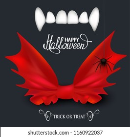 Vampire teeth and red bow tie. Halloween background. Vector illustration