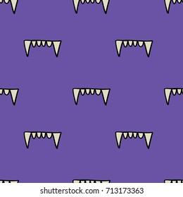 vampire teeth seamless doodle pattern