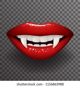 Vampire tooth stylish woman lips slightly open mouth fashion mockup transparent background design vector illustration