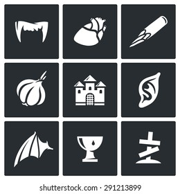 Vampires and means against them icons set. Vector Illustration. Isolated Flat Icons collection on a black background for design