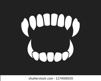 Vampire's teeth icon isolated on  background. Vector