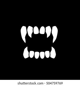 Vampire's teeth icon isolated on neutral background. Vector art.