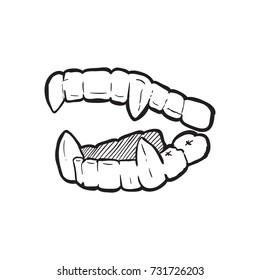 vampire's teeth icon isolated vector art