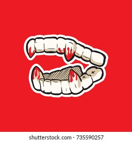 vampire's teeth icon isolated vector art