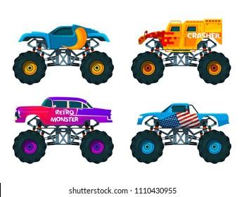 Van 4x4 with big wheels. Vector pictures of monster trucks. Auto motor, heavy transport professional illustration