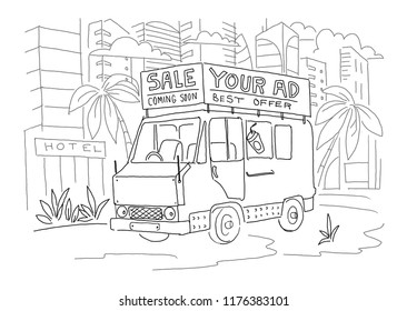 Van bus with advertising banner sketch.  Your ad. Vector illustration clipart. Hand drawn black line.