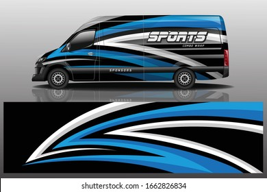 van car decal wrap design vector