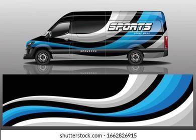 van car decal wrap design vector