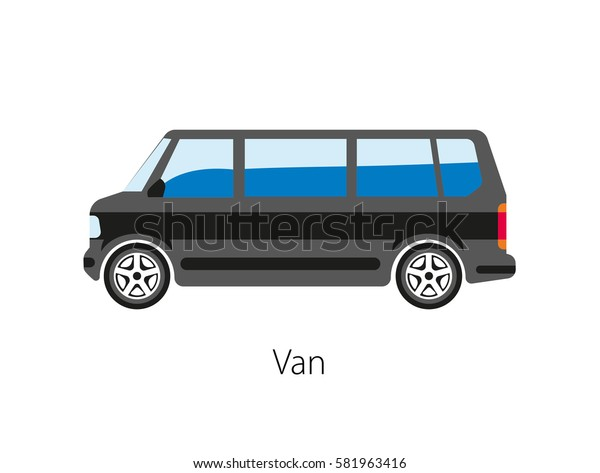 Van car isolated on white background. Van type of road vehicle used for transporting goods or people. Can be bigger or smaller than a truck and SUV. Vector illustration of automobile black model