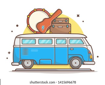 Van Car Music Tour Transportation with Drum, Guitar, and Suitcase Vector Illustration. Flat Cartoon Style Suitable for Web Landing Page,  Banner, Flyer, Sticker, Wallpaper, Card, Background