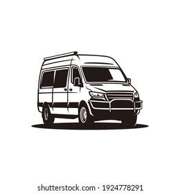 van car vehicle monochrome vector