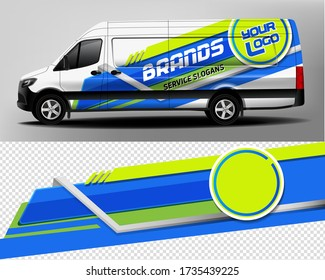 Van Car Wrapping Decal. Development of car design for the company. Car branding. Car brand sticker in blue and green colors