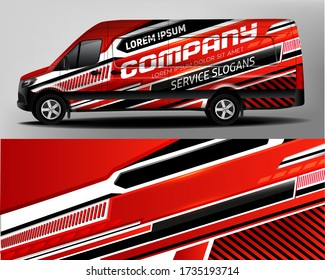Van Car Wrapping Decal.Development of car design for the company. Car branding. Car brand sticker in black and red colors