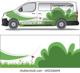 Van cargo decal vector designs. flories vetor art camouflage livery for vehicle vinyl branding background - vector